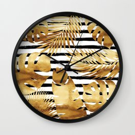 Tropical Leaves & Stripes - Black Wall Clock