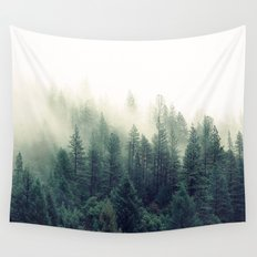 Foggy Winter Forest Wall Tapestry