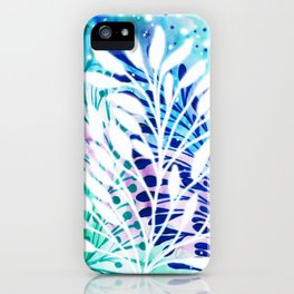 Blue Green Abstract Background and White Leaves iPhone Case
