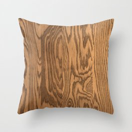 Wood 5, heavily grained wood Horizontal grain Throw Pillow