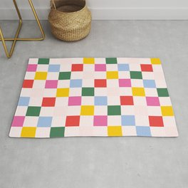 Retro Bauhaus Pattern | Abstract Shapes | Geometric Checks Rug