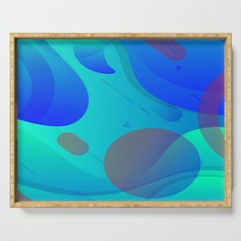 Purple Blue And Green Abstract Design Serving Tray