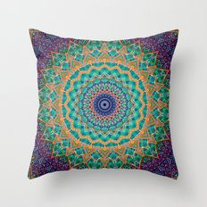 Travel Into Dimensions Mandala. Throw Pillow