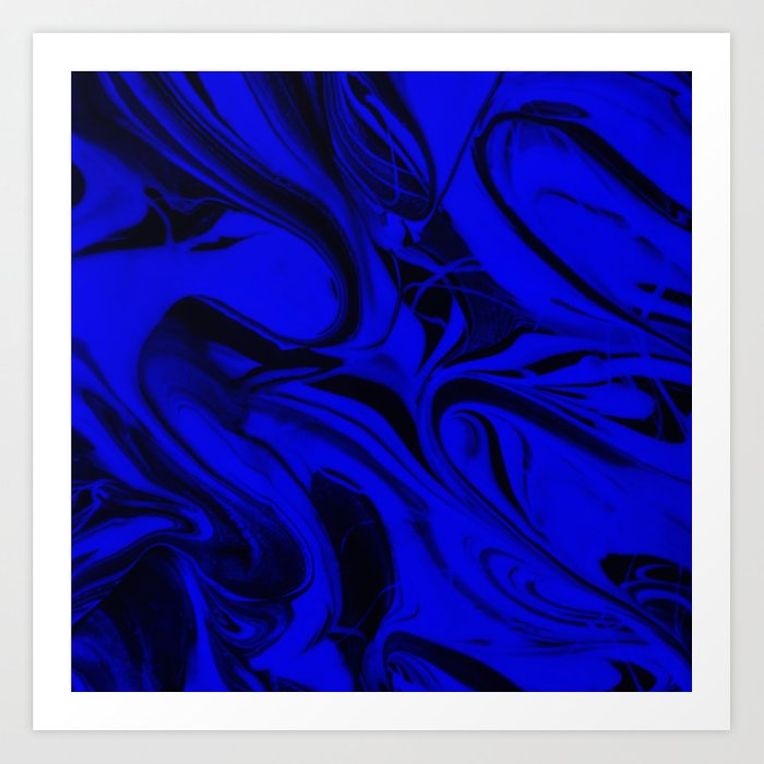 Black and Blue Swirl - Abstract, blue and black mixed paint pattern texture Art Print