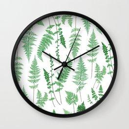 Ferns on White I - Botanical Print Wall Clock