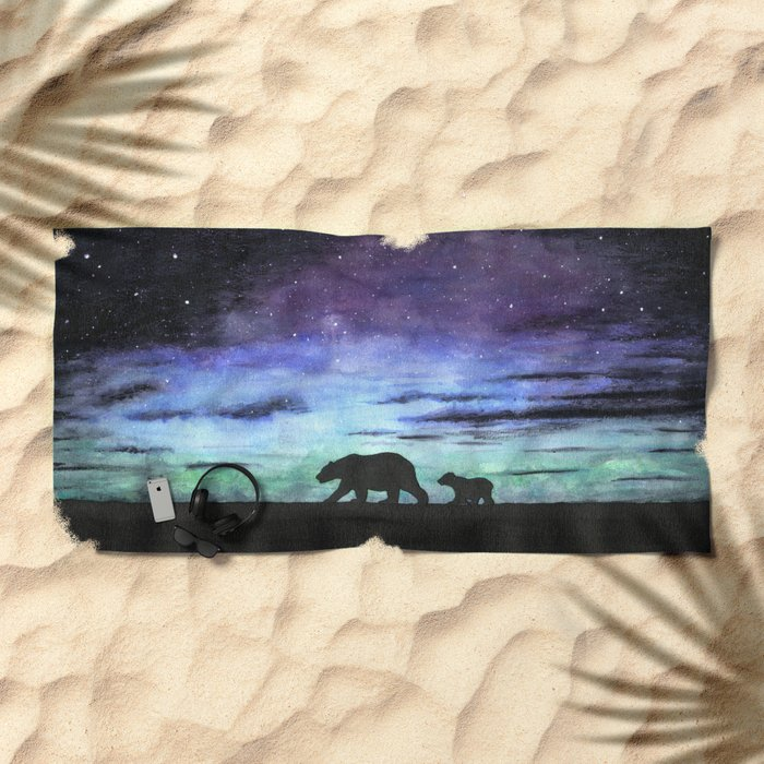 Aurora borealis and polar bears (black version) Beach Towel