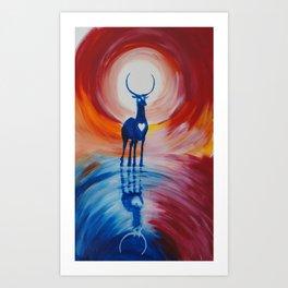 deer sun Art Print