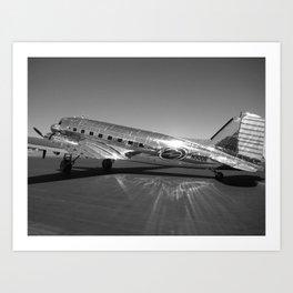 Douglas DC-3 Dakota Military Art Deco Airplane black and white photograph / art photography by Brian Burger Art Print