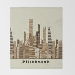 Pittsburgh skyline vintage Throw Blanket