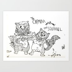 Squirrel vs Chipmunk Art Print