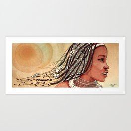 Wind in her hair Art Print