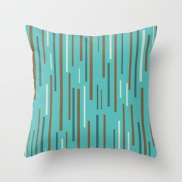 Interrupted Lines Mid-Century Modern Minimalist Pattern in Turquoise and Brown Throw Pillow