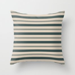 Night Watch Color of the Year PPG1145-7 Thick and Thin Horizontal Stripes on Sourdough Beige Tan Throw Pillow