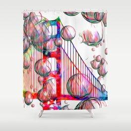Golden Gate Bubbles Shower Curtain