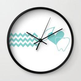I (heart) Tooth (chevron) Wall Clock