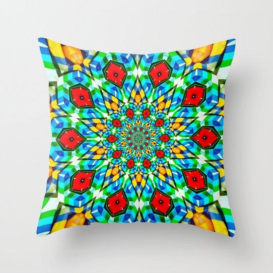 Folded Fabric Flower Throw Pillow