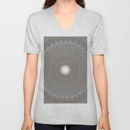 Concrete and White Lace Mandala Unisex V-Neck