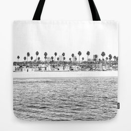 Vintage Newport Beach Print {4 of 4} | Photography Ocean Palm Trees B&W Tropical Summer Sky Tote Bag