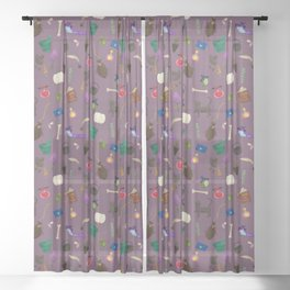 Assorted Witchery Repeating Pattern Light purple Sheer Curtain
