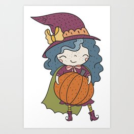 Happy Pumpkin Witch Art Print