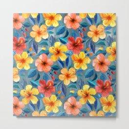 Colorful Watercolor Hibiscus on Grey Blue Metal Print