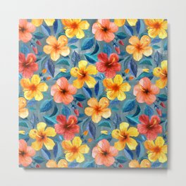 Colorful Watercolor Hibiscus on Grey Blue Metal Print