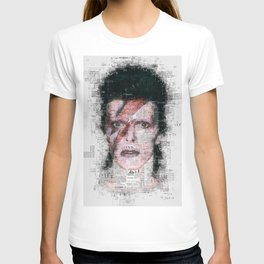David Bowie Newspaper Style T-shirt