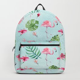 Watercolor blue green tropical floral pink flamingo Backpack