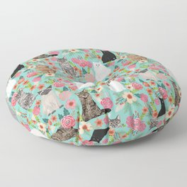 Cats floral mixed breed cat art cute gifts for cat ladies cat lovers pet art Floor Pillow