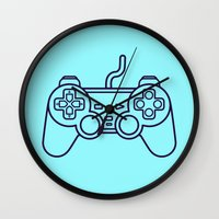 playstation Wall Clocks featuring Playstation 1 Controller - Retro Style! by Rikard Röhr