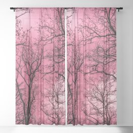 Creepy forest, pink sky Sheer Curtain