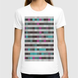 pixels pattern with colorful squares and stripes T-shirt