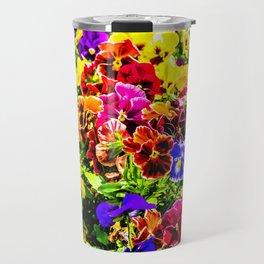 Viola Tricolor Pansy Flowers Travel Mug
