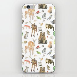 Woodland Animals Watercolor iPhone Skin