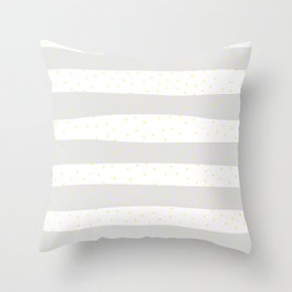 Simple Christmas seamless pattern Yellow Confetti on Silver and White Stripes Background Throw Pillow