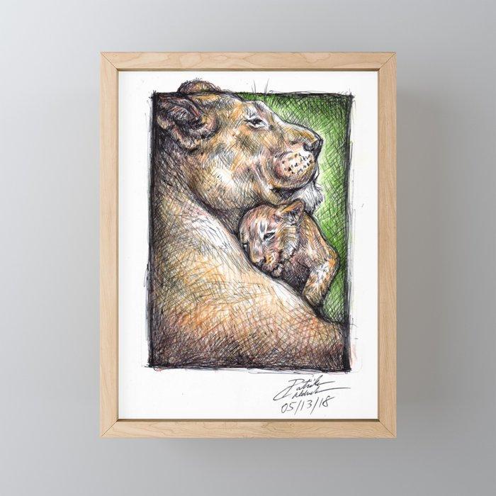 Lioness and Cub Framed Mini Art Print