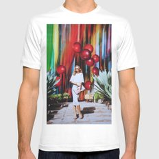 Red Berry Joy Town MEDIUM White Mens Fitted Tee
