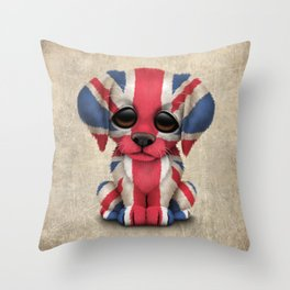 Cute Puppy Dog with flag of Great Britain Throw Pillow