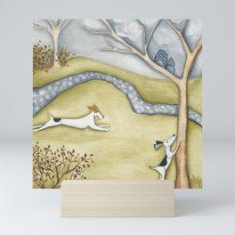Dog squirrel landscape painting GET IT! original art Mini Art Print