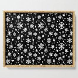 Festive Black and White Snowflake Pattern Serving Tray