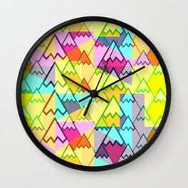 Colorful mountain tops Wall Clock