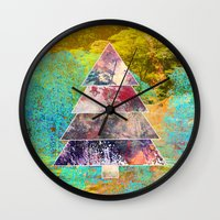 xmas Wall Clocks featuring Xmas by Aniko Gajdocsi