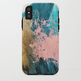 Coral Reef [1]: colorful abstract in blue, teal, gold, and pink iPhone Case