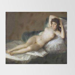 Maja Desnuda (The Nude Maja) by Francisco Goya Throw Blanket