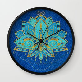 Blue Teal Lotus with Golden Accents Wall Clock