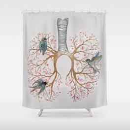 Blooming Lungs: Human Anatomy, Floral Cherry Blossom Shower Curtain