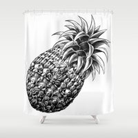 ornate elephant Shower Curtains featuring Ornate Pineapple by BIOWORKZ