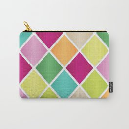 Modern Diamond Geometric Pattern Design // Pink Orange Green Blue Carry-All Pouch
