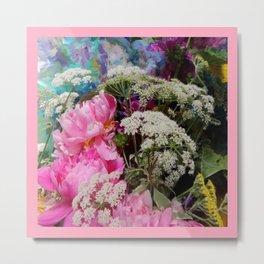 Pink Peonies & Queen Ann's Lace Bouquet Metal Print