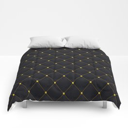 Black and Gold abstract luxury quilted pattern Comforters